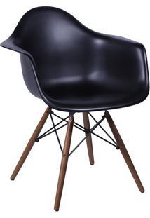 Poltrona Eames Dar- Preta & Madeira Escura- 82X62X44Or Design