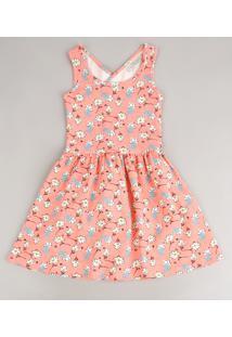 Vestido Infantil Estampando Floral Com Transpasse Alça Média Coral Neon