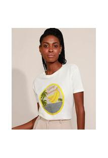 "T-Shirt Feminina Mindset ""Going Bananas"" Manga Curta Decote Redondo Off White"