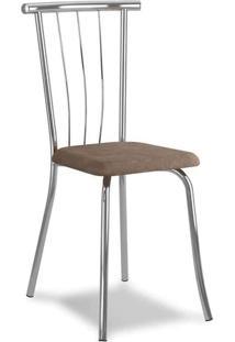Cadeira Cromada Ávila Camurça Conhaque