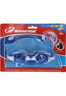 Kit De Natação Hammerhead F. Scherer Set Com Óculos, Touca E Protetor De Ouvido - Adulto - Azul