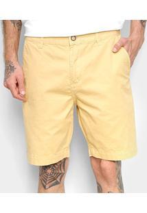 Bermuda Sarja Foxton Chino Masculina - Masculino-Amarelo