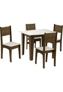 Conjunto De Mesa Para Sala De Jantar Com 4 Cadeiras Atlanta-Dobue - Castanho / Off / Bege