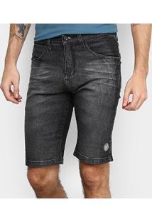 Bermuda Jeans Hd Slim Masculina - Masculino-Preto
