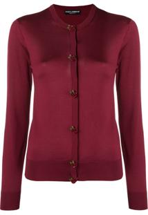 Dolce   Gabbana Cardigã Com Botões De Rosa De Seda - Vermelho d2ec085425