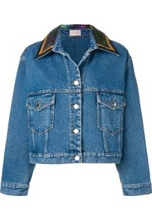 Christopher Kane Jaqueta Jeans Com Paetês - Azul
