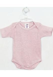 Body Bebê Feminino Mescla Manga Curta Rosa-P - Feminino-Rosa