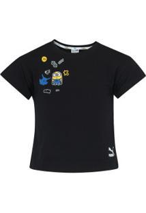 Camiseta Puma Minions Tee Feminina - Infantil - Preto