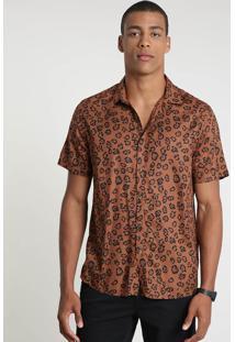 Camisa Masculina Tradicional Estampada Animal Print Onça Manga Curta Marrom