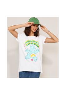 """Camiseta De Algodão Ursinhos Carinhosos """"Emotional Exhausted"""" Manga Curta Decote Redondo Off White"""