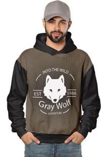 Casaco De Moletom Gray Wolf O Grande Lobo Di Nuevo Masculino - Masculino