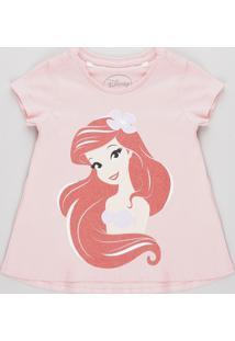 Blusa Infantil Pequena Sereia Ariel Com Brilho Manga Curta Rosa Claro