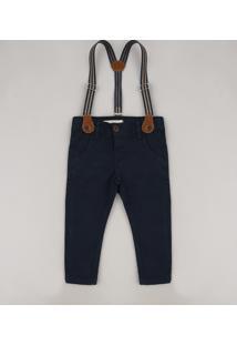 Calça De Sarja Infantil Slim Com Suspensório Azul Marinho