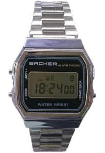 Relógio Masculino Backer Digital 15001453F - Unissex-Prata