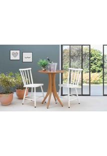 Mesa Com 2 Cadeiras Redonda Juliette - Jatobá E Branco