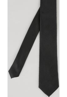 Gravata Masculina Em Jacquard Com Mini Print Preta - Único