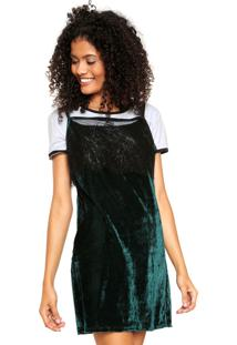 Vestido Slip Dress Fitwell Veludo Verde