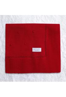 Manta Bebê Tricot Bolinha Vermelho 80Cm Grão De Gente Vermelho