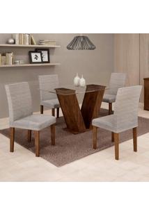Conjunto De Mesa De Jantar Com 4 Cadeiras Classic Suede Chocolate E Cinza