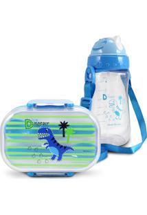 Conjunto Pote Para Lanche E Squeeze Infantil Dinossauro 1 Menino Jacki Design Azul