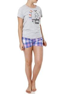 Pijama Curto Mundo Do Sono Feminino - Feminino-Cinza+Lilás