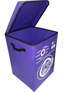 Cesto Para Roupa Suja Lavanderia Organibox Violeta - Tricae