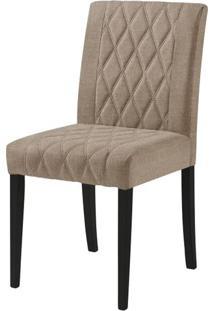 Cadeira Menta Assento Cor Bege Com Base Laca Preto Fosco - 46450 Sun House