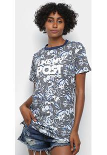 Camiseta Long Tricats Folhagem Feminina - Feminino-Cinza+Azul