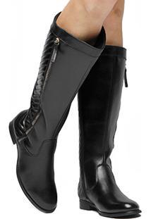 4ee4fd536 Bota Montaria Couro Shoestock Matelassê Feminina - Feminino-Preto