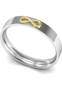 Aliança De Prata C/ Infinito Em Ouro-16 - Feminino-Prata