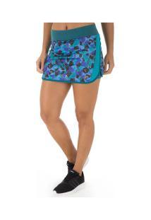 Short Saia Asics Regional Run Printed - Feminino - Azul Claro/Preto