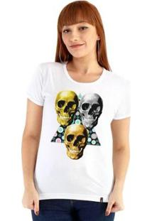 Baby Look Ouroboros Manga Curta 3 Skull - Feminino-Branco