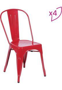 Jogo De Cadeiras De Jantar Retrã´- Vermelho- 4Pã§Sor Design