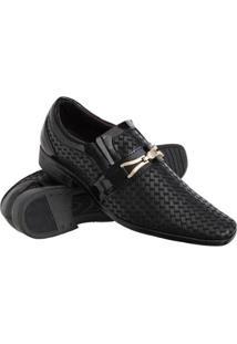 Sapato Social Texturas Conforto Macio Leve Verniz Masculino - Masculino-Preto