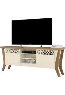 Rack Bancada Para Tv Atã© 60 Polegadas Sala De Estar Decor Off White/Canela - Frade Movelaria - Off-White - Dafiti