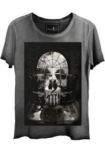 Camiseta Feminina Estonada Corte A Fio Skull House