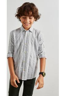 Camisa Mini Pf Textura Horizontal Inv 19 Reserva Mini Verde - Kanui