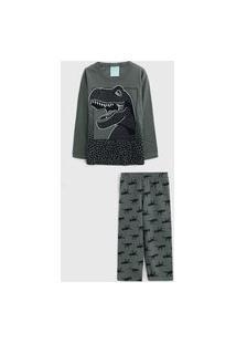 Pijama Kyly Longo Infantil Dinossauros Verde
