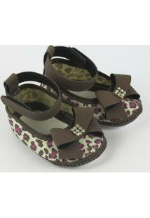 Sapato Bebê Feminino Vermelho Zebrinha-P - Feminino-Marrom