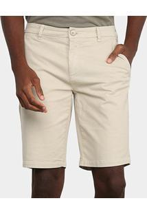 Bermuda Sarja Calvin Klein Alfaiataria Masculina - Masculino-Cáqui