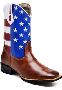 Bota Texana Ded Calçados Bico Quadrado Cano Longo Bordado Eua Masculina - Masculino-Marrom