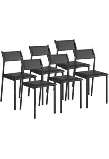 Cadeira Carraro 1709 Preto 6 Cadeiras