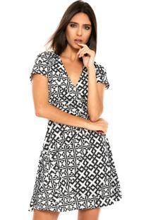Vestido Fiveblu Curto Estampado Branco/Preto