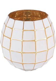 Vaso Little Squares- Branco & Dourado- 17Xã˜17Cm-Urban