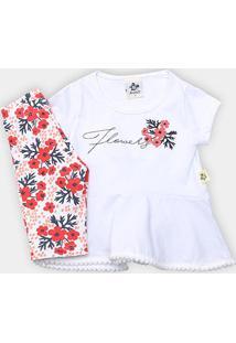Conjunto Infantil Andritex Short Cotton Estampado Flowers Femenino - Feminino-Branco