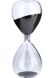 Ampulheta Decorativa Clear Glass Preta 17X6,5X6,5