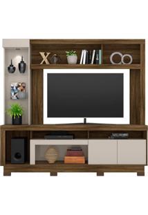 Estante Home Para Tv Até 55 Polegadas Com Led 2 Portas Iguatemi Colibri Móveis Canela Rústico/Off White