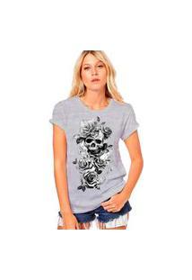 Camiseta Coolest Arabesco Caveira Rosas Cinza