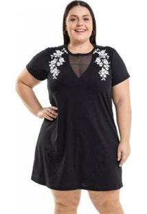 Vestido Meia Malha Com Estampa Miss Masy Plus Size - Feminino-Preto