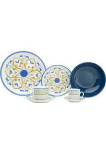 Aparelho De Jantar De Porcelana Super White Mayolica Blue Wolff – 42 Peças
